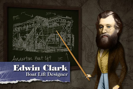 Image showing cartoon of Edwin Clark, designer of the boat lift.